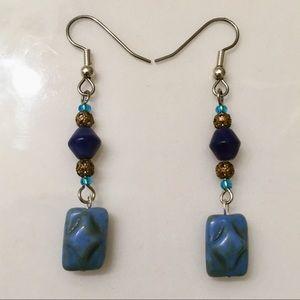 Jewelry - Blue Brown Silver Tone Earrings Beaded Dangle